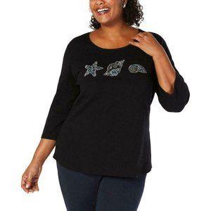Karen Scott Women's Seashell 3/4 Sleeves Top Shirt